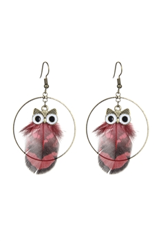 Circle Owl Feather Earrings E2389