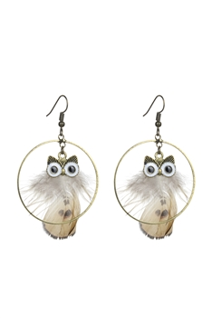 Circle Owl Feather Earrings E2389 - Champagne