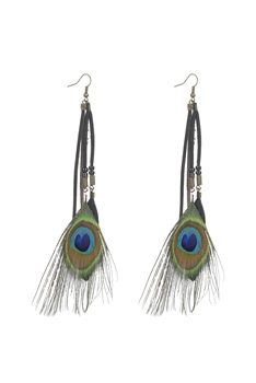 Peacock Feather Dangle Earrings E2390 - Black