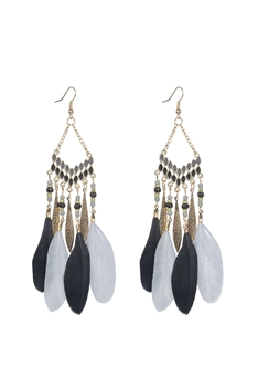 Fashion Feather Tassel Metal Dangle Earrings E2396 - Black