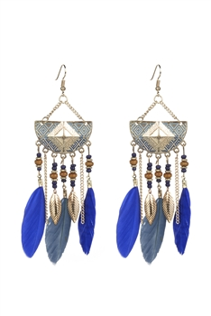 Bohemian Ethnic Feather Metal Earrings E2397 - Blue