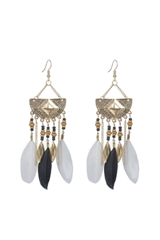 Bohemian Ethnic Feather Metal Earrings E2397 - Grey