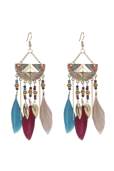 Bohemian Ethnic Feather Metal Earrings E2397 - Multi