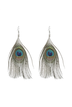 Peacock Feather Dangle Earrings E2402 - Green