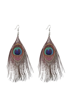 Peacock Feather Dangle Earrings E2402 - Wine