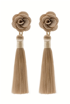 Bohemian Tassel Flower Long Earrings E2404 - Champagne