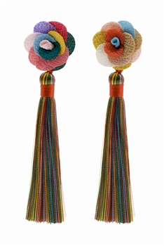 Bohemian Tassel Flower Long Earrings E2404 - Multi
