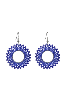Round Crystal Bead Earrings E2412 - Blue