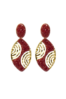 Oval Crystal Gold Planted Earrings E2433 - Red