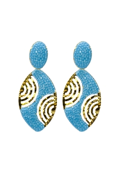 Oval Crystal Gold Planted Earrings E2433 - Blue