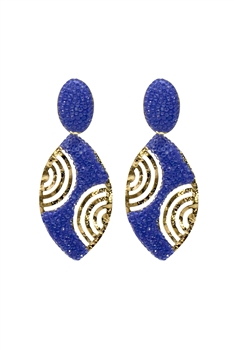 Oval Crystal Gold Plated Earrings E2433 - Navy Blue