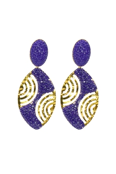Oval Crystal Gold Planted Earrings E2433 - Purple