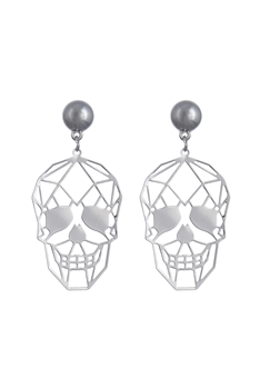 Hollow Skull Dangle Earrings E2440 - White