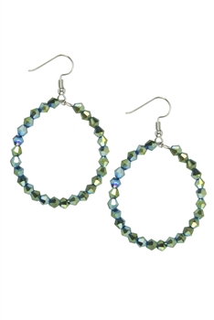 Hollow Round Crystal Dangle Earrings E2454 - Green