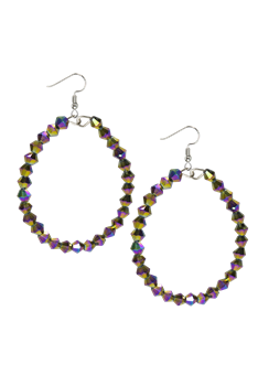Hollow Round Crystal Dangle Earrings E2454 - Multi