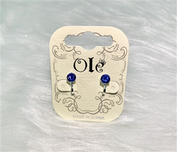 Simple Square Zircon Clip on Earrings E2455 - Blue