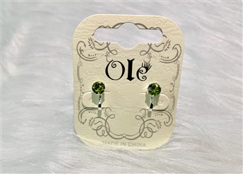 Simple Square Zircon Clip on Earrings E2455 - Green