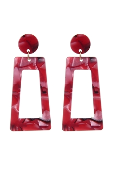 Acrylic Trapezoid Earrings E2460 - Red