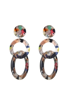 Hoop Chain Acrylic Earrings E2486 - Multi
