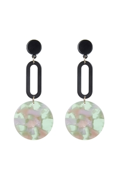 Round Dangle Marbled Earrings E2487 - Green