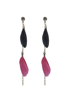 Gold Chain Feather Zircon Earrings E2498 - Black