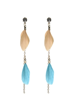 Gold Chain Feather Zircon Earrings E2498 - Brown