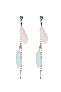 Gold Chain Feather Zircon Earrings E2498 - Pink