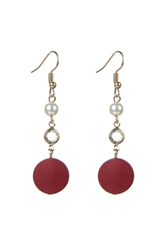 Round Wood Zircon Crystal Dangle Earrings E2502 - Red