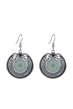 Sea Bead Crystal Metal Pattern Earrings E2506 - Black