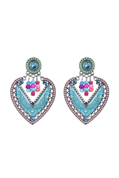 Heart Shaped Sea Bead Crystal Earrings E2509