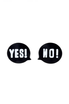 New Design Yes Or NO Stud earrings  E2522