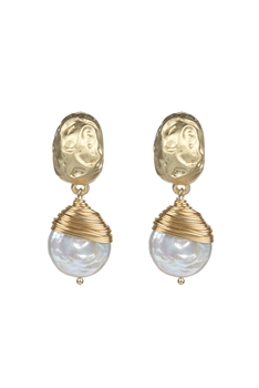 Pearl Dangle Gold Thread Twine Earrings E2552