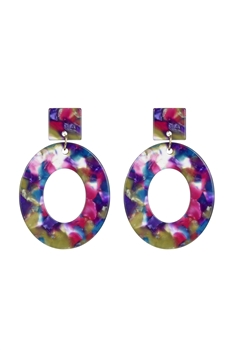 Acrylic Oval Dangle Earrings E2566 - Multi