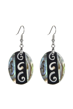 Oval Mother Of Pearl Dangle Earrings E2568