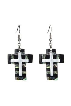 The Cross Mother of Pearl Earrings E2570