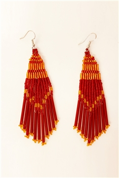 Bohemian Seed Bead Tassel Earrings E2573 - Red