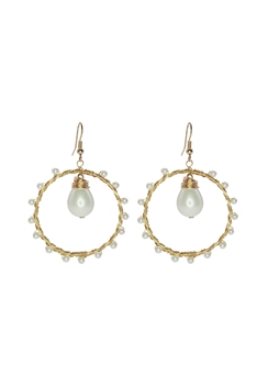 Pearl Beaded Circle Earrings E2578
