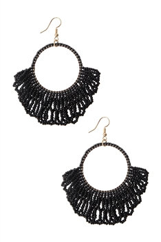 Hollow Circle Tassel Earrings E2594 - Black