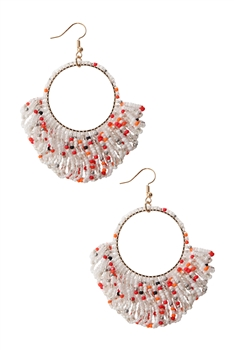Hollow Circle Tassel Earrings E2594 - Pink-Multi