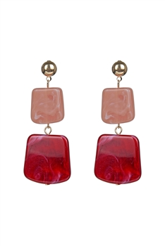 Dangle Marbled Resin Earrings E2609 - Pink
