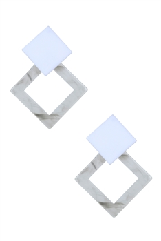 Geometric Rhombus Acrylic Marble Earrings E2610