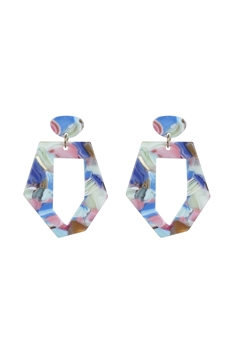 Marble Pattern Irregular Acrylic Earrings E2614