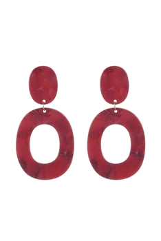 Marble Pattern Circle Acrylic Earrings E2619 - Red