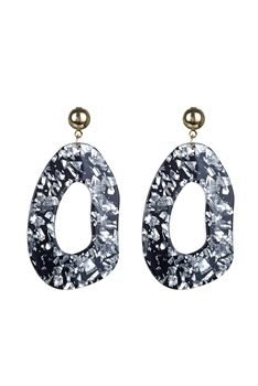 Debris Pattern Acrylic Earrings E2620 - Silver