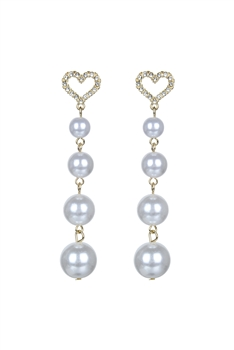 Heart Shaped Crystal Pearl Dangle Earrings E2629
