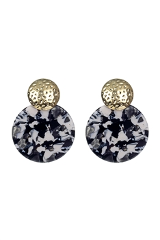 Marble Pattern Round Acrylic Earrings E2634 - Black