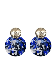 Marble Pattern Round Acrylic Earrings E2634 - Blue