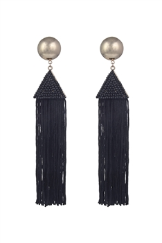 Dangle Seed Beads Tassel Earrings E2645 - Black