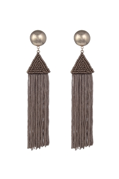 Dangle Seed Beads Tassel Earrings E2645 - Brown