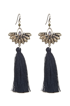Metal Tassel Dangle Earrings E2646 - Black